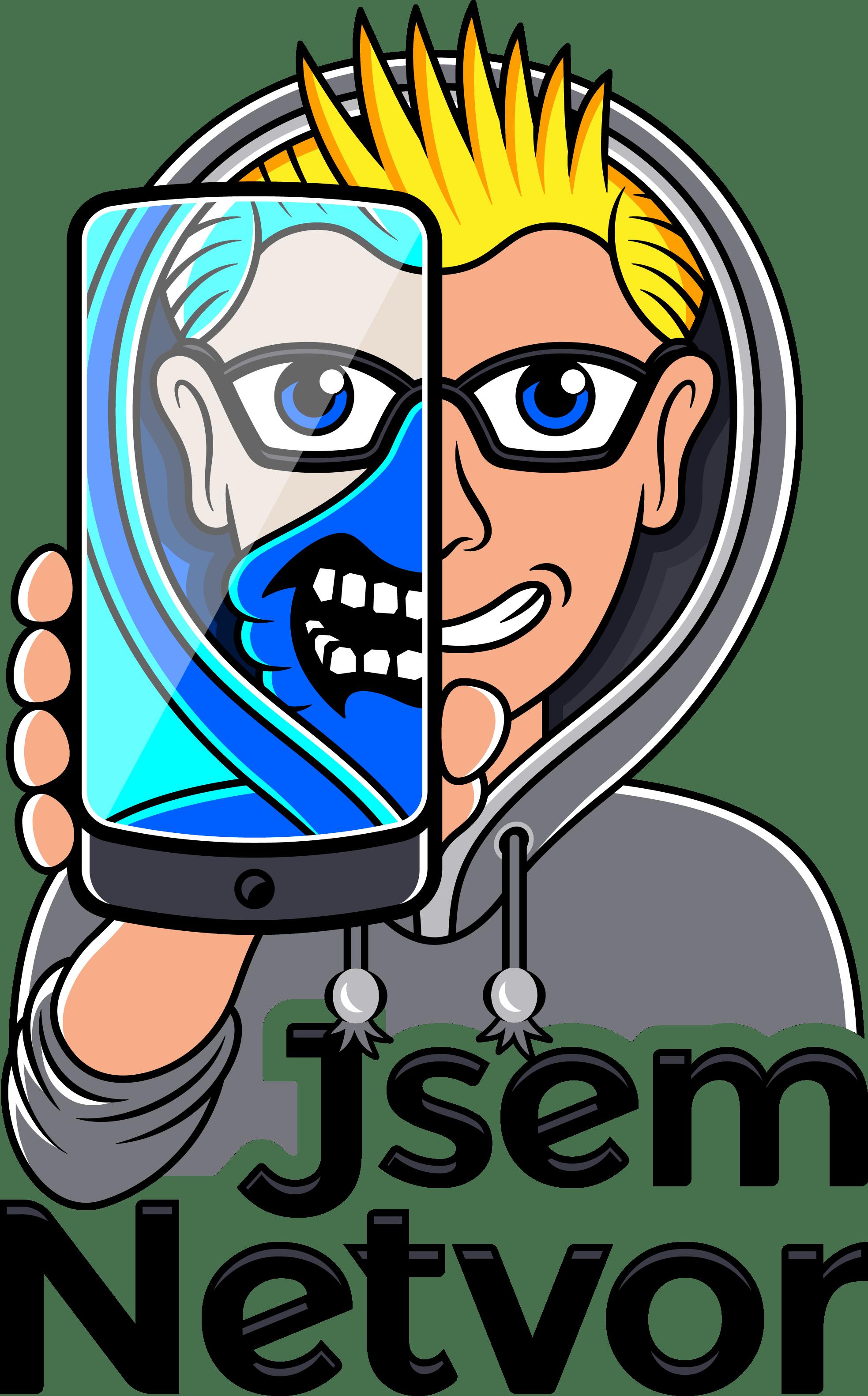 Logo: Jsem Netvor. Na obrázku je osoba, která ukazuje mobilní telefon. Telefon překrývá polovinu obličeje.